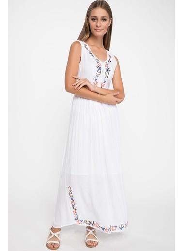 DeFacto Desen Detaylı Uzun Elbise Ekru